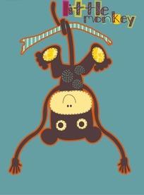 倒立的猴子可爱卡通矢量图案