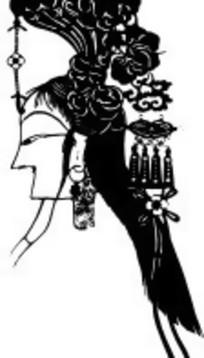 古代女性人物头部矢量图