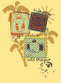 卡通动物头像和椰子树构成的矢量图