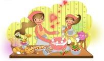 妈妈和小女孩一起做蛋糕