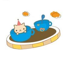 猫咪杯子卡通失量图
