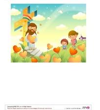 拿着一颗红心站在十字架下石阶上的长胡子老人和一个大男孩和小男孩矢量图