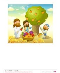 秋天收苹果的三个长胡子男人矢量图