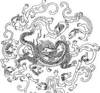 矢量龙形线条图案插画