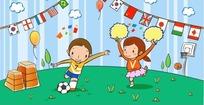 踢足球的男生和跳舞的女生