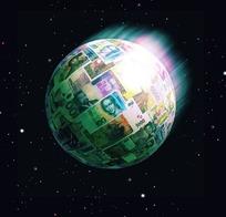 宇宙夜空中贴着各国钱币的运动星体