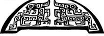 中国古典图案-卷曲纹构成的半圆形图案