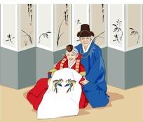穿民族服装拍结婚纪念合影的老年夫妇