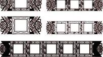 单色古典花纹装饰方框AI矢量文件