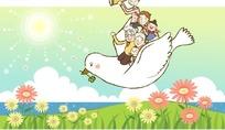 矢量乘鸽子旅行的一家人卡通插画