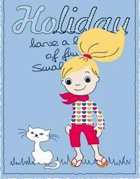 矢量可爱的卡通猫咪和女孩插画
