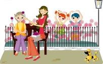在长椅上吃东西的两个女人和在花园里跳舞的小朋友矢量图