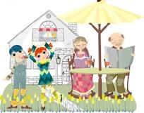 在凉亭下看书读报的老爷爷老奶奶和在房子外面玩耍的小朋友矢量图