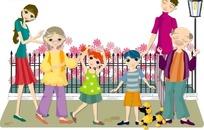在外面散步的一家人矢量图