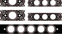 中国古典藤蔓装饰八边形框AI矢量文件
