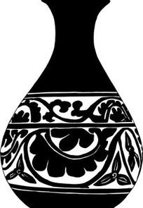 中国古典图案-缠枝花卉叶子纹玉壹春瓶