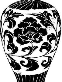 中国古典图案-缠枝牡丹纹梅瓶