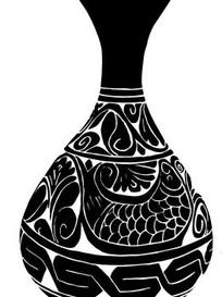 中国古典图案-缠枝鱼回纹玉壹春瓶