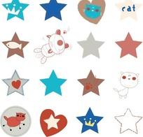 各种各样的星星和小猫