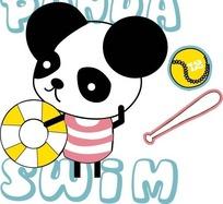 可爱卡通熊猫矢量图