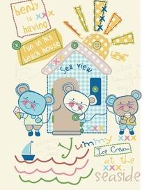 可爱小老鼠卡通矢量素材