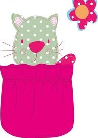 手绘布袋斑点小猫