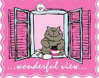 坐在窗子上的猫咪卡通矢量图