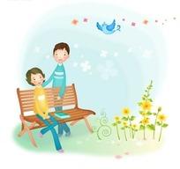 长椅附近母子与天上的小鸟卡通插画AI矢量文件