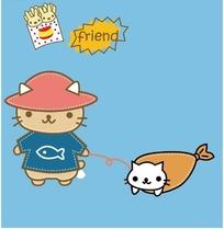 穿着衣服和鱼皮套两只小猫