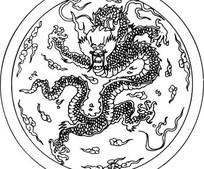 飞舞的中国龙剪纸矢量图