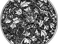 圆形中国传统牡丹花简笔画矢量图