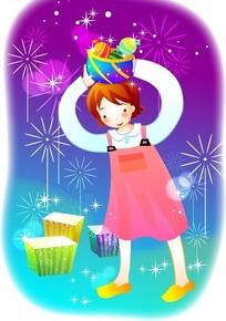 烟花与头顶玩具的粉裙少女AI矢量文件