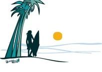 椰树下远望落日的冲浪少年剪影AI矢量文件