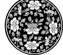 中国古典图案-黑底牡丹菊花叶子图案