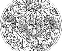 中国古典图案-牡丹花卉叶子纹图案