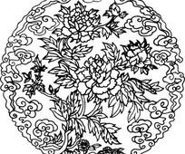 中国古典图案-牡丹绿叶祥云图案