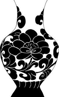 黑白有花纹的简单花瓶素材下载 1429299