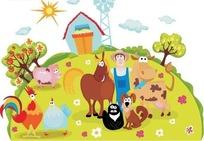 农夫和他的动物们快乐地在一起
