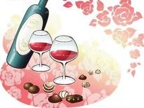 情人节主题红酒酒杯矢量素材