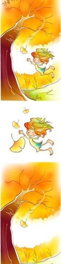 手绘韩国人物插画-树下飞翔的女孩