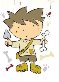 手绘卡通双手拿东西的小男生