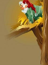 从黄色树枝上爬出来的圣诞老人