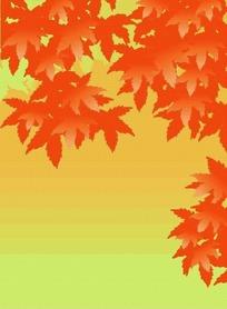 手绘秋天红色枫叶