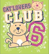 卡通猫咪和英文构成的矢量图