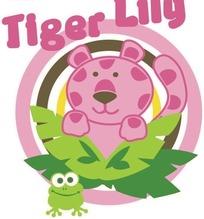 老虎和青蛙以及环形构成的矢量图