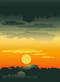 落日余晖图