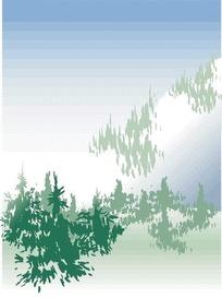 矢量抽象卡通森林插画图形