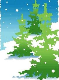 矢量冬季雪景绿色树木插画图形