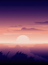 矢量紫色落日景色插画图形