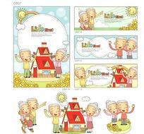 老人和红色房屋构成的矢量图